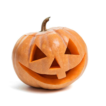 Festive Halloween carved pumpkin on white