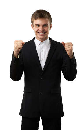 bandwagon: happy and lucky man celebrate his win Stock Photo