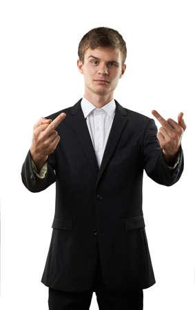 man is showing two fucks and smirk Banco de Imagens