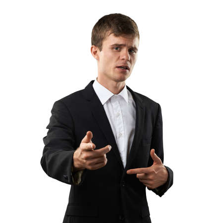instruct: businessman is instruct and tell guidance Stock Photo