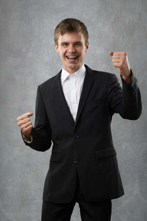bandwagon: man is happy and very emotional Stock Photo