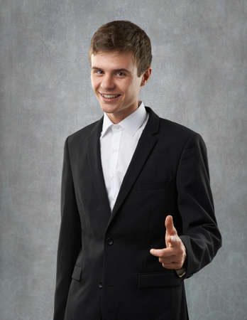 only man: positive and entusiastic businessman is happy Stock Photo