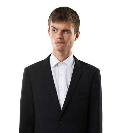 desconfianza: hombre sospechoso de alguien y mirar con desconfianza Foto de archivo