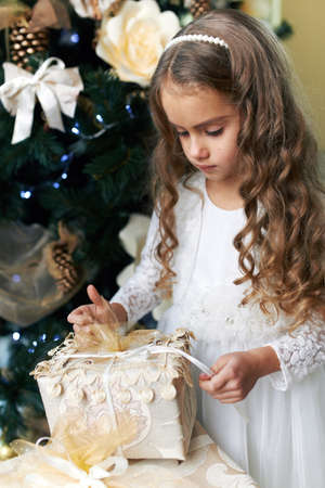 opens: Beautiful girl opens a gift for the new year