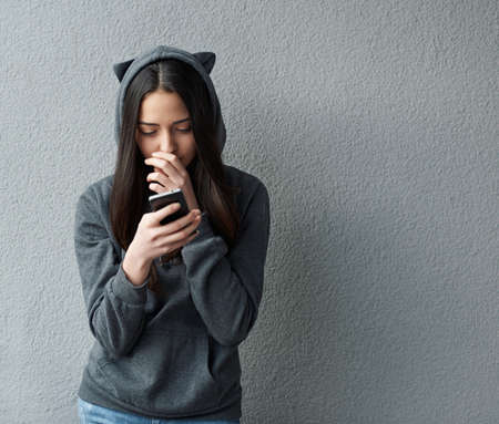the thoughtful: thoughtful teenager girl writes SMS