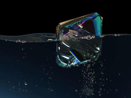 diamond in boiling water. 3D render. jewel gemstone bubbles deepness aqua