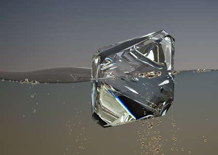 diamond in boiling water jewel gemstone bubbles aqua Stock Photo