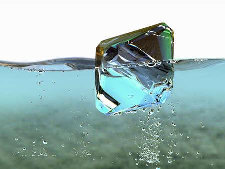 Diamond in boiling water jewel gemstone bubbles deepness aqua