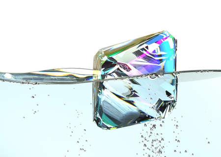 diamond in boiling water. 3D render. jewel gemstone bubbles clear aqua