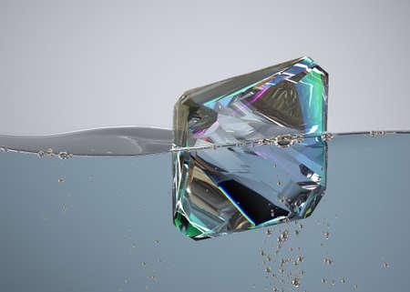 diamond in boiling water. 3D render. jewel gemstone bubbles blue aqua