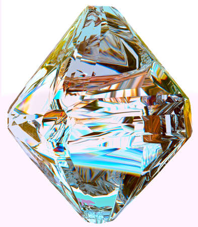 Dispersion Diamond 3D render reflection abstract colorful clearness shining isolated on black shining gem