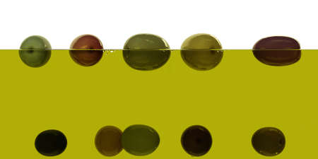 Fresh ripe various olives floating on olive oil surface semi-submerged on white background. Transparent liquid extra virgin olive oil 3d render side view Big size high resolution macro closeup Stok Fotoğraf