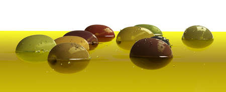 Fresh ripe various olives floating on olive oil surface semi-submerged on white background. Transparent liquid extra virgin olive oil 3d render macro closeup