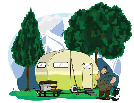 camping site: Camping site with man and camping trailer Illustration