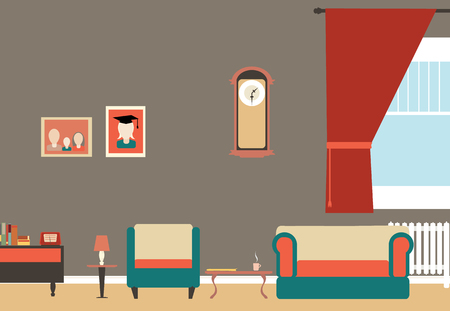 Old vintage living room with sofa,chair,small table etc  Vector