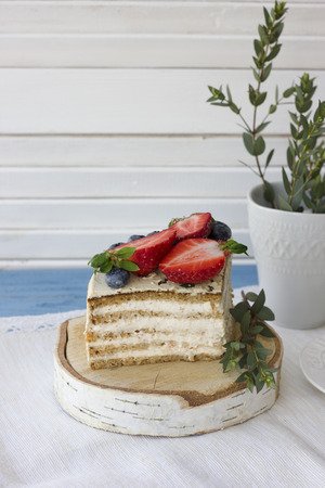 Dietary cake with berries. Piece of cake. Delicious, healthy dessert. The minimum of calories