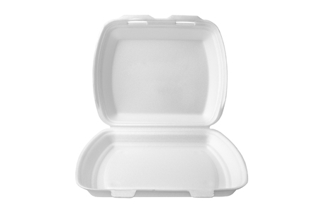 The expanded polystyrene container is open for food products. isolated on white