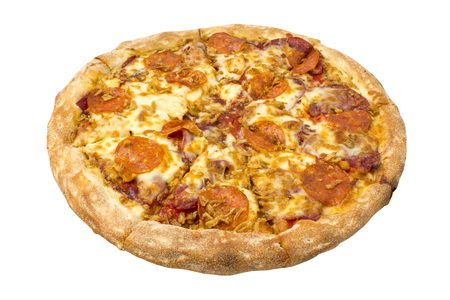 Hot homemade Pepperoni pizza with slices of ham and chicken. Object on white background. Isolated  Stock Photo