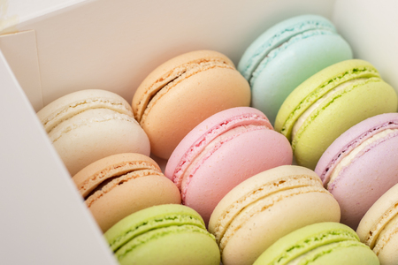 A box of fresh colorful macarons. Colorful cookies, pastel colors 1