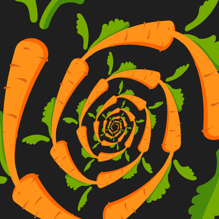 Vector background with an orange carrot on a black background. A twisted spiral. Vector illustration Illustration