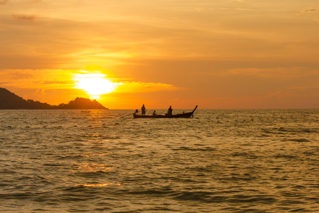 Colorful sunset in the Adaman Sea. Thailand. Horizontal