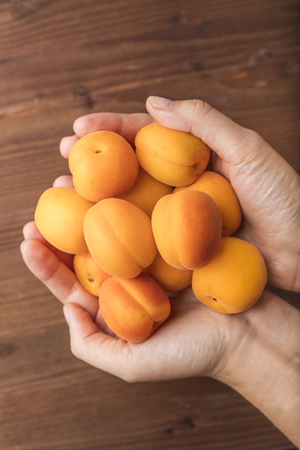 Ripe organic apricots in the hands of a girl, on a wooden background