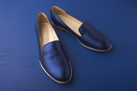 Women's shoes are dark blue on a blue background