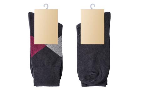 New socks on a white background. Dark socks. Isolated Imagens