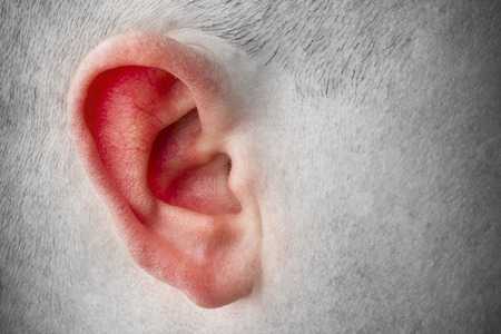 head of a man and the red ear. A sign of telling lies. Sick ear. Copy space