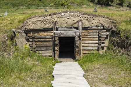 Large Scythian burial mound. Russia, Siberia, Altai. The Iron Age Stock Photo