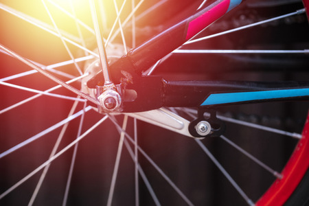 Part of the bicycle wheel, details. Copy space