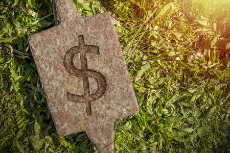 Iron anvil with a sign Dollar against a grass background with a copy of the space