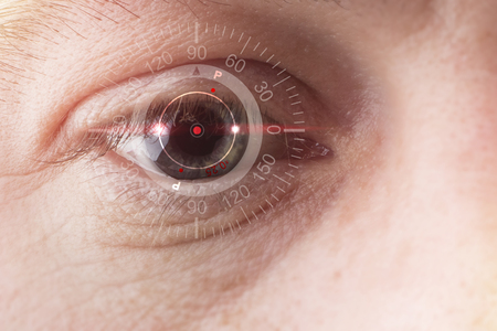 technological concept, smart contact lens. Copy space