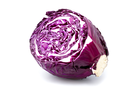 Head of red cabbage in a section on a light background
