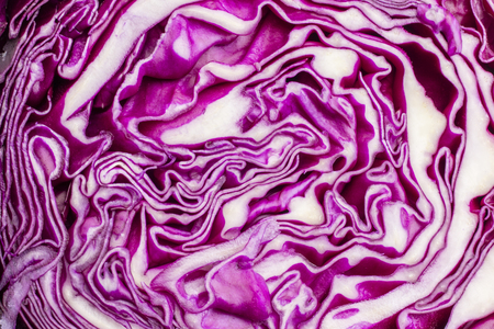 Head of red cabbage in a section on a light background. Background, texture