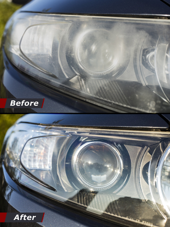 Polishing the optics of car headlamps. Effect Before and after the effect of polishing Banco de Imagens - 123721798