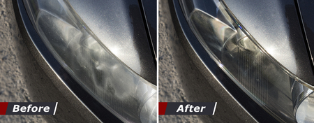 Polishing the optics of car headlamps. Effect Before and after the effect of polishing Banco de Imagens