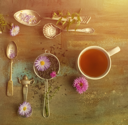 Tasty tea. sieve with dry flower tea leaves and fresh flowers. view from above. toning Stock Photo