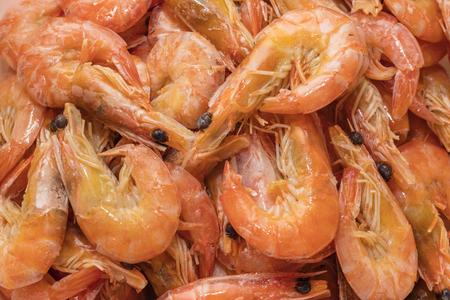 Boiled shrimps with lemon. Shrimp background. tiger boiled shrimps