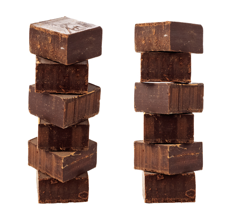 Chocolate cubes on a white background. Isolated object Archivio Fotografico