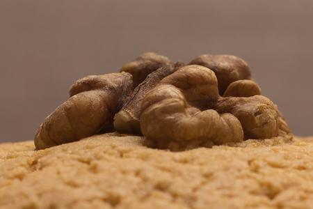 walnut kernel on cookies. close-up