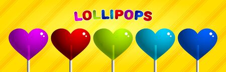 set of colorful lollipops in the shape of a heart on a yellow background. Vector