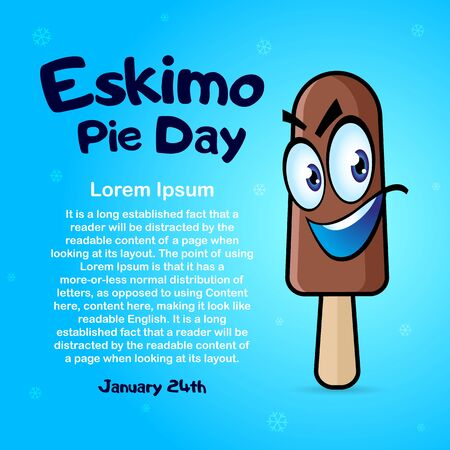 January 24 International Eskimo Pie Day. Square Banner with place for text, flyer, card. Cartoon ice cream. Vector