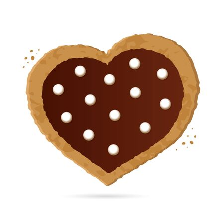 Heart shaped cookies with chocolate on a white background. Symbol of Valentines Day. Isolated object. Vector Illustration