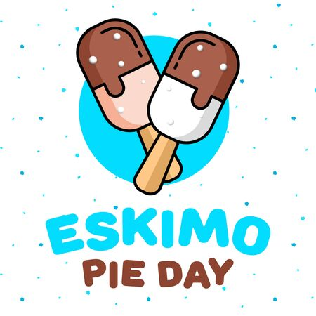 January 24 is a sweet holiday, International Eskimo Pie Day. Square banner, flyer, card. Vector illustration Vetores