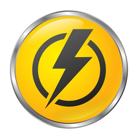 Big yellow power off button on a white background. Isolated object. 3D style Illustration