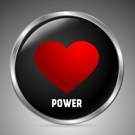 Big black button with a red heart, the inscription power. 3D style. Vector illustration