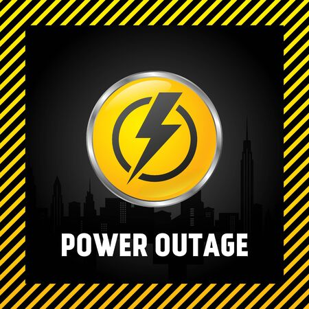 Large power off button, warning poster in yellow and black. 3D style Illustration