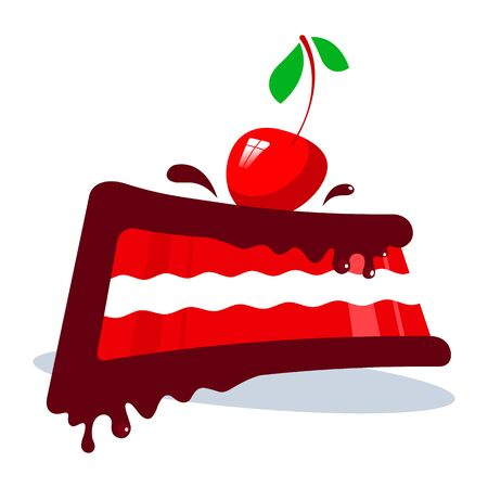 Chocolate slice of cake with marmalade and red cherry on a white background