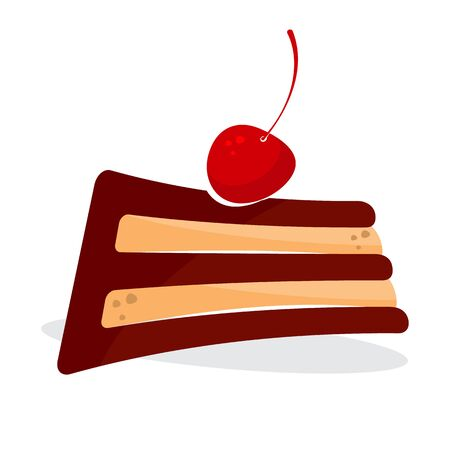 Stylization of the letter E under a sweet piece of cake with red cherry on a white background. Isolated object